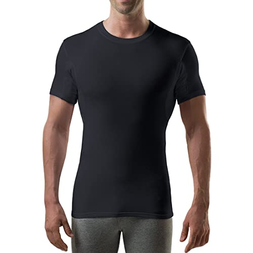 Original Fit, V-Neck The Thompson Tee Mens Sweat Proof Undershirts for Men with Underarm Sweat Pads