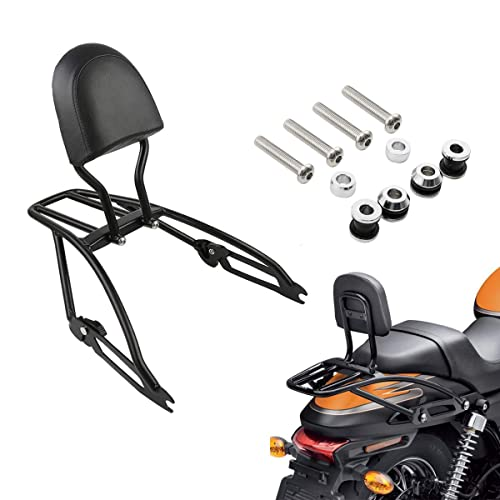 XMT-MOTO Backrest Sissy Bar with Running and Brake LED Light Kit,4-Point Docking Hardware Kit,Two-Up Luggage Rack fits for Harley-Davidson Touring Models 2014-Later,Chrome