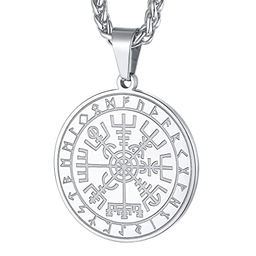 FaithHeart Viking Odins Ravens Necklace for Men Boys Stainless Steel Runic Irish Talisman Coin Customized Accessories Antique Nordic Valknut Protection Amulet Engraving Jewellery