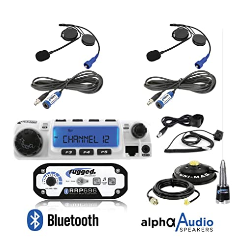Antenna and Antenna Mount Intercom Cables Push to Talk Cables Rugged Radios RRP696 Black Out Series Intercom and RM60 60 Watt VHF Two Way Mobile Radio 2 Place Race System Kit with Helmet Kits