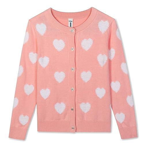 Khanomak Kids Girl Crew Neck Cardigan Sweater Sizes 3T- 14 Yrs