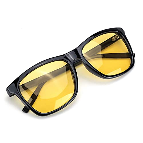 FIMILU Women Oversized Night Vision Glasses Anti-Glare HD Yellow Night Driving Glasses for Rainy//Fog//Nighttime Safe Black Frame//Yellow Lens Oversized Night Vision Glasses