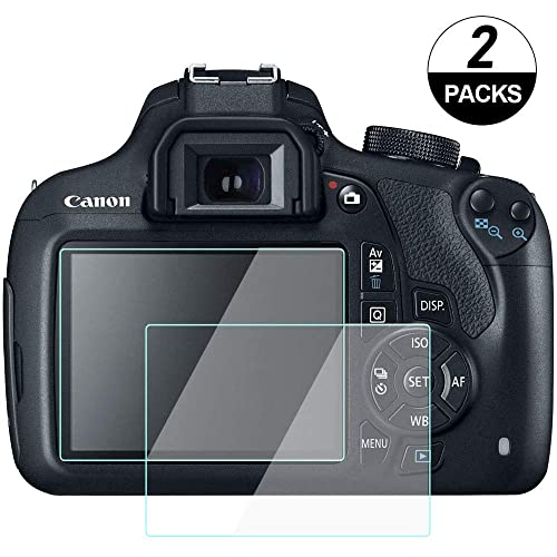 WH1916 Tempered Glass Cover Bubble-Free Anti-Scratch Anti-Finger for t6 Rebel T6 Glass Screen Protector Compatible for Canon Rebel T6// EOS 1300D// Kiss X80 Digital Camera 2 Pack