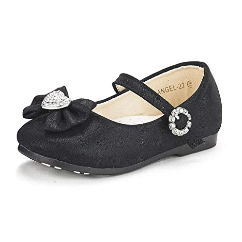 DREAM PAIRS ANGEL-22 Mary Jane Front Bow Heart Rhinestone Buckle Ballerina Flat