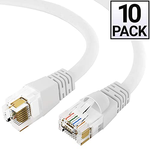 RJ45 10Gbps High Speed LAN Internet Cord Computer Network Cable with Snagless Connector Cat6a Shielded Ethernet Cable 20 Feet - Gray GOWOS 5-Pack STP Available in 28 Lengths and 10 Colors