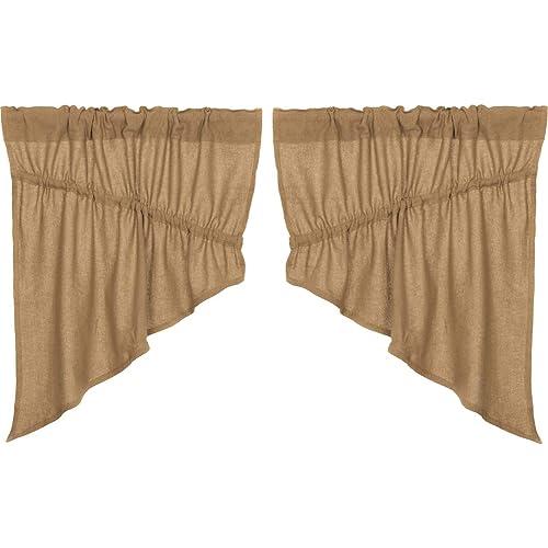 L36 x W36 VHC Brands Americana Primitive Kitchen Window Curtains Vincent Tan Scalloped Tier Pair