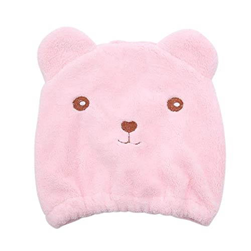 Beige Iuhan Cute Cartoon Cat Absorbent Coral Velvet Children Dry Hair Hat Fast Drying Shower Head Towel Wrap Bathing Spa Swimming Turban Hat Dry Cap Towels Gift Hair Drying Towel for Kids Girls