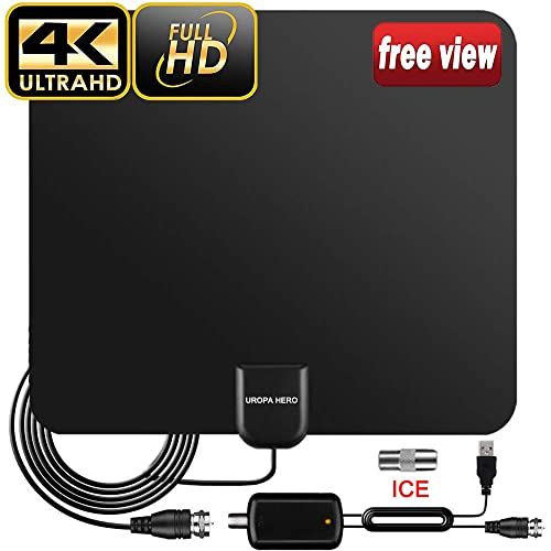 HTV 4K HDTV TV Antenna 150 Miles Range Indoor Digital TV Antennas with Signal Amplifier Booster Support 4K 1080P 16Ft Coaxial Cable UHF VHF TV Antennas for Digital TV Indoor Best One 2019 White