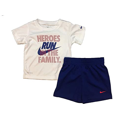 //White//Grey, 18 Months Black 66F028-023 Nike Toddler Boys Dri Fit Short Sleeve T-Shirt and Short 2 Piece Set