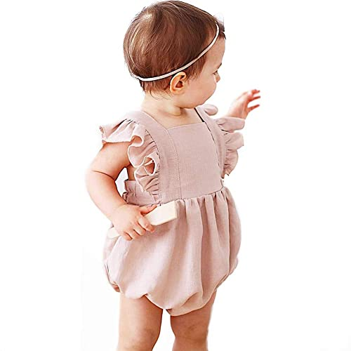 Simplee kids Baby Onesies Unisex Cotton Linen Handmade Romper Jumpsuit Solid Color Long Sleeve Jumpsuit