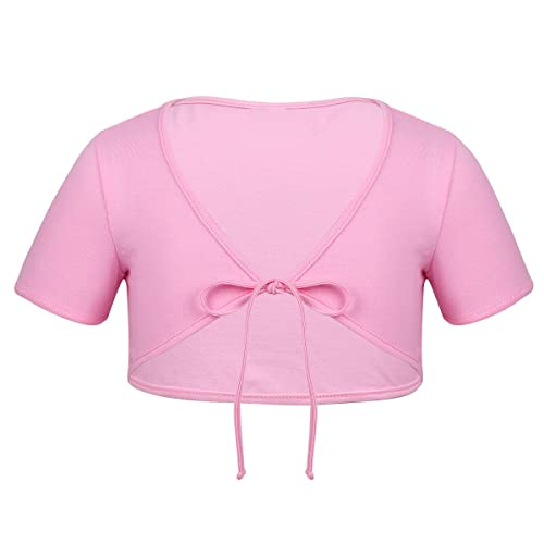 Girls Classic Front Knot Cotton Wrap Tops Ballet Dance Dress Wedding Cardigan