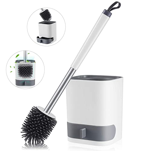 PINK MILIBOBO 2020 New No-Slip Toilet Brush and Holder Set Creative Silicone Cleaning Brush Set Long Handle Toilet Bowl Cleaner Brush Standing Holder Wall Mounting Cleaning Brush /…