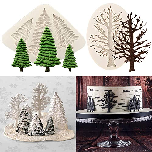Qingsi 2 Pack 3D Small Christmas Tree Silicone Mold Elk Mold Fondant Chocolate Candy Mold Candle Soap Cake Polymer Clay Xmas Party Supplies