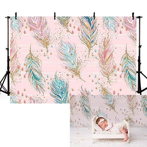 COMOPHOTO Bohemia Dreamcatcher Photography Background 7x5ft Polyester Pink Feather Newborn Photo Studio Backdrop for Pictures Baby Girl Birthday Party Background Decorations