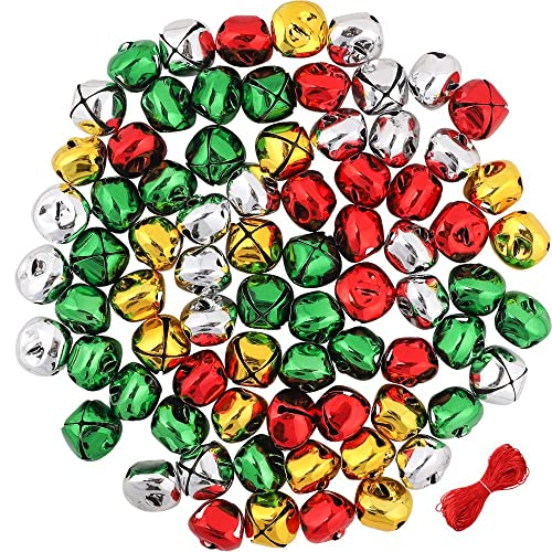 Reofrey Jingle Christmas Bells,120 Pcs Colorful Craft Bells Small Bell Mini Bells DIY Bells for Holiday Party Christmas Festival Home Decoration 4 Colors