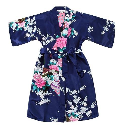 Toddler Girls Satin Kimono Robe Peacock Blossoms Bathrobes Weeding Gown Spa Wedding Birthday Ages 1-12