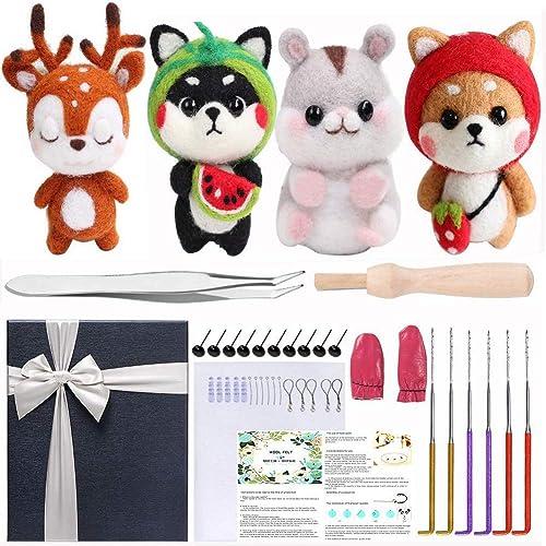 Needle Felt Animal Kits by DiyerClub Crafts Felting Needles Kits Beginners Felting Wool Roving 36 Color Tools Set Needle Felting Kit Starter Needle Felting Craft Supplies for Adults