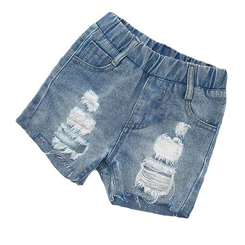 Pandapang Boys Washed Faded Fashion Distressed Elastic Waist Denim Jeans Shorts