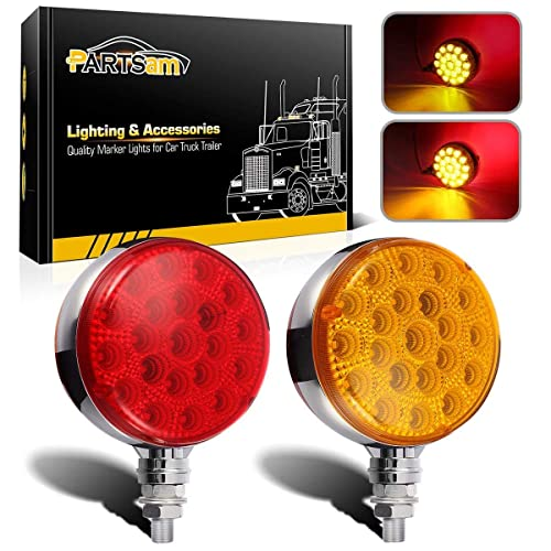 NBWDY 2pc 4 Inch Smoked Lens Amber LED Round Trun Signal Tail Side Marker Light 12 Diodes 3-prong Plug /& w//Rubber Surface Mount for Truck Trailer RV UTE UTV Tow ATV Bus Jeep Van 12v DC Universal GA12