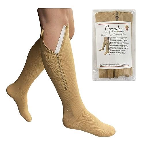 Presadee Traditional 20-30 mmHg Firm Compression Wide Big Calf Leg Open Toe Sock Beige, 5XL