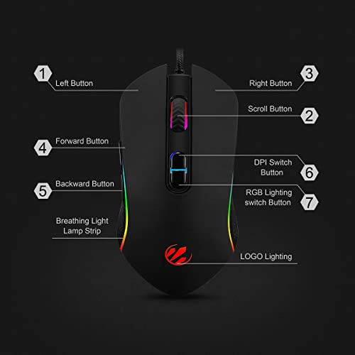 Buy RGB Gaming Mouse Accro Xtrem Wired Computer Mouse Optical Mouse