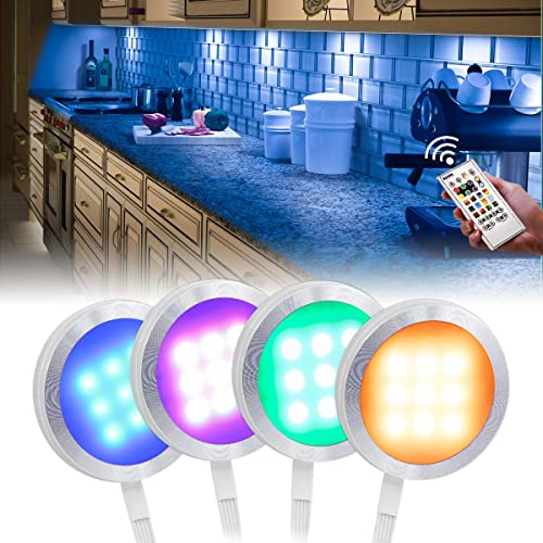 6 Pack LED Puck Lights Under Cupboard Lights Kitchen Display Cabinet Closet Under Cabinet Lights for Wardrobe Disc Light Counter and Shelves 1500 LM /& Daylight White 6000K