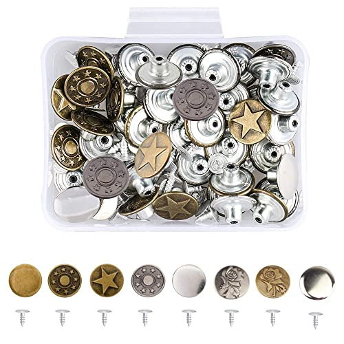 Red Copper, 20mm 20mm Replacement Jeans Buttons 12 Sets Metal Button Combo Copper Tack and Plastic Storage Box Red Copper
