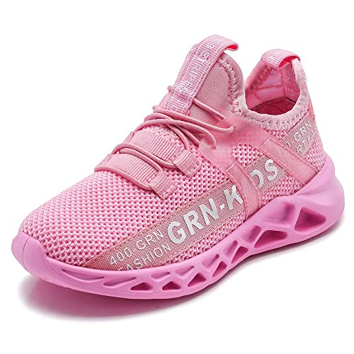 Kids Girls Breathable Knit Sneakers Lightweight Mesh Athletic Running Shoes