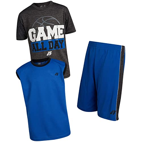 Pro Athlete Boys Athletic Quick Dry Tee-Shirt and Shorts 3 Piece Performance Short Set