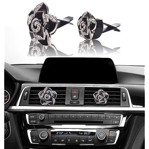 12 Pieces Crystal Bling Auto Hooks Rhinestone Rear View Mirror Decoration Valve Stem Caps Auto Engine Start Stop Bling Rhinestone Accessories for Car Women Interior Car Decor Accessory
