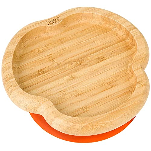 Stay Put Feeding Plate Baby Toddler Monkey Suction Plate Natural Bamboo Cherry