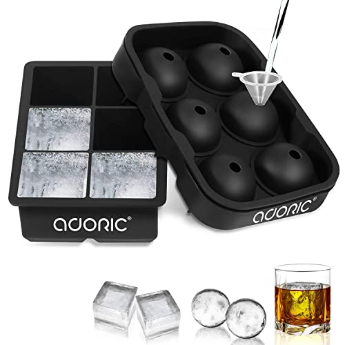 Funnel Included Easy Release Ice Sphere Mold Tray with Silicone Lid TGJOR Ice Cube Trays Cocktail or Homemade one pack Large Square 2.5 Inch Ice Ball Maker for Whiskey