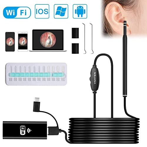 Rooftree Ear Camera 1080P FHD Wireless Ear Scope,Wireless iPhone Ear Scope Camera with 3-Axis Gyroscope Ear Wax Removal Endoscope Compatible with Android iOS Smartphone and Tablet