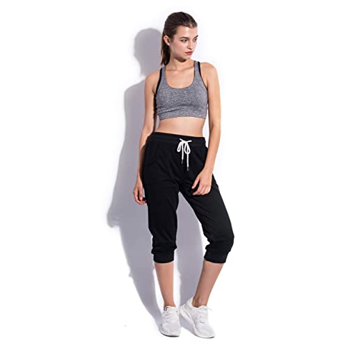 SPECIALMAGIC Womens Sweatpants Capri Pants Cropped Jogger Running Pants Lounge Loose Fit Drawstring Waist with Side Pockets