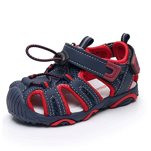Ahannie Boys Toddler Closed-Toe Summer Beach Outdoor Water Sandals Little Kid Breathable Mesh Athletic Sneakers Shoes