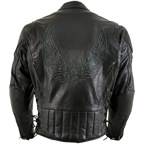 Xelement B7108 Eazy Mens Flat Black Leather Jacket with Protective X-Armor