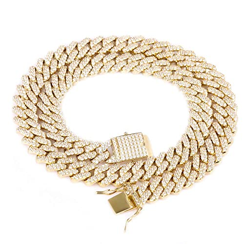 a50ce88875b51 GOLD IDEA JEWELRY Hip Hop Heavy 14k Gold Plated/White Gold Plated Full Iced  Out Miami Cuban Link Chain Necklace/Bracelet 12MM