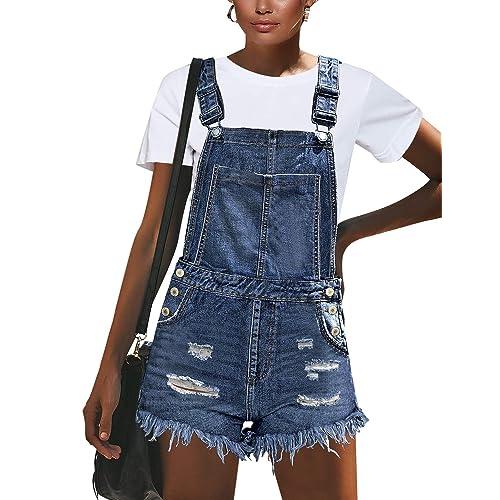 GRAPENT Womens Adjustable Strap Frayed Raw Hem Denim Bib Overalls Jeans Shorts