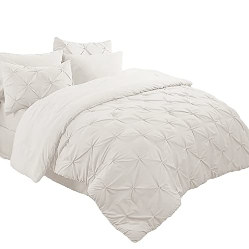 8 Piece Luxury Juliet Pintuck Bed in a Bag Comforter Bedding Set with Sheets