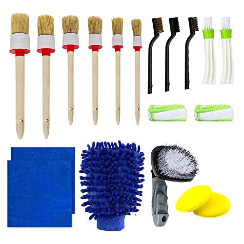 2-in-1 Car Detailing Brush Vent Cleaner /& Hard Brush Mini Duster for Car Air Vent,Perfect for Cleaning Wheels Dashboard Interior Green Air Vents Emblems Exterior Leather