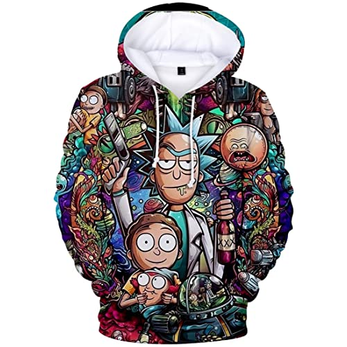 OLIPHEE Men 3D Print Hoodie Sweatshirt Pullover Cosplay Costume Hooded Funny Cartoon Graphic Sweatshirt