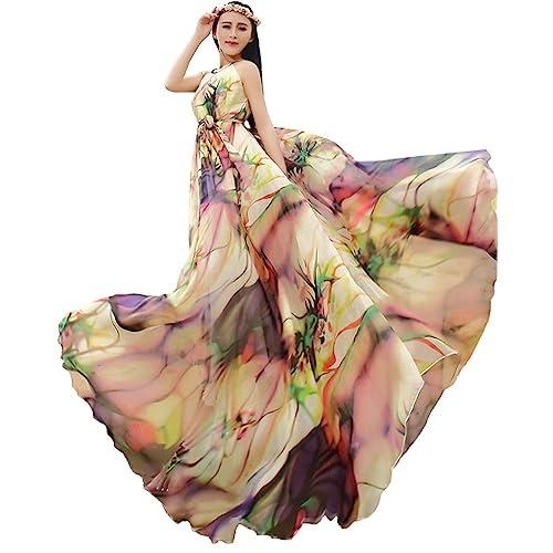 Medeshe Womens Orange Summer Chiffon Flowy Sundress Holiday Beach Maxi Dress