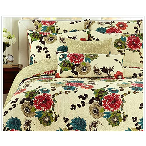 Tache Festive Holly and the Ivy Floral Reversible Beige Red Quilt Bedspread Set