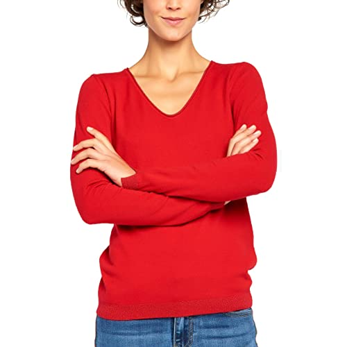 BENANCY Womens Simple V-Neck Pullover Soft Knit Long Sleeve Sweater Top