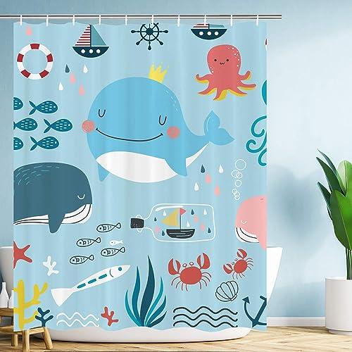 "72X72/"" Marine Life in Deep Sea Nautical Shower Curtain Cartoon Bathroom Curtains"