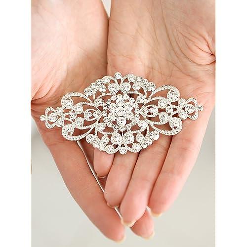 Ever Faith Crystal 4.1 inch Royal Flower Pattern Wedding Brooch Pendant
