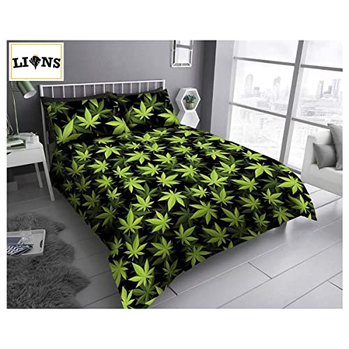 Buy Lions Cannabis Marijuana Bedding Set Weed Leaf Duvet Quilt Cover With Pillow Case Reversible Poly Cotton Easy Care 3 Piece Double Bed Greenblack 200 X 200 Cm Online In Maldives B07vykj9gx
