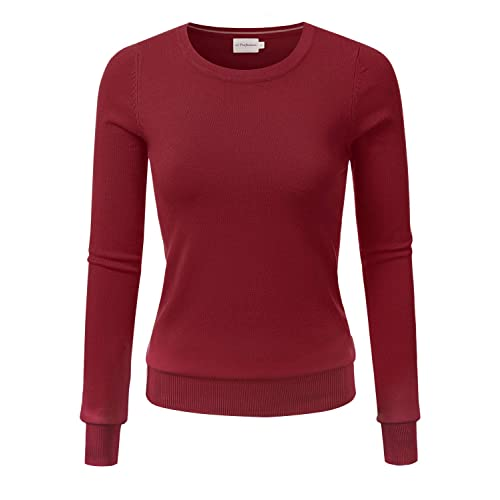 JJ Perfection Womens Simple Crew Neck Pullover Chic Soft Sweater with Plus Size