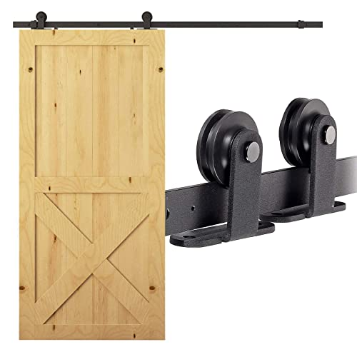 ABO Gear Barn Door Hardware Kit Sliding Barn Door Hardware 6.6 Feet Antique Black Steel Sliding Barn Wood Door Set