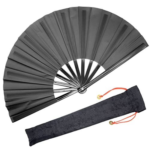 FANSOF.FANS Folding Hand Fan Black Silk Fabric Bamboo Ribs Hand Held Chinese Fan with a Pouch Handheld Wedding Party Favour Teachers Gift